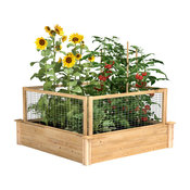 Greenes Original Cedar Raised Garden Bed With CritterGuard Fence System