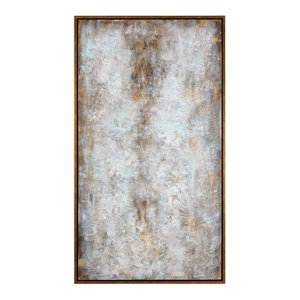 "Oversize 74"" Abstract White Gray Gold Wall Art, Painting Modern Tall"