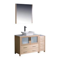 Fresca Torino 48-inch Light Oak Modern Bathroom Vanity Side Cabinet & Vessel Sink