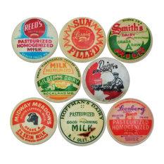Milk Bottle Cap Cabinet Knobs, 8-Piece Set, Set B