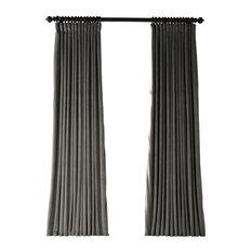 "Gunmetal Gray Doublewide Blackout Velvet Curtain Single Panel, 100""x108"""
