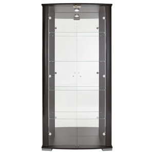 Vitrine Display Cabinet With LED and Lock, 2 Door, 4 Shelves, Black