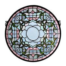 Meyda Tiffany 99019 Tulip Tiffany Beveled Medallion Stained Glass Window Pane