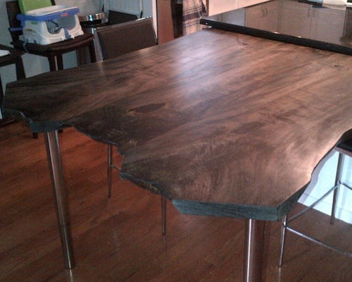 stained maple live edge kitchen table - Maple Kitchen Table