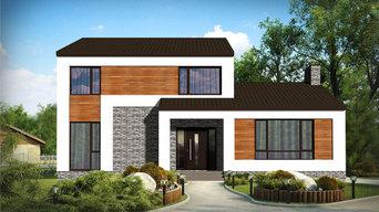 Типовой проект дома из газобетона в современном стиле Z-177-G