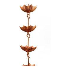 Umbrella Copper Rain Chain Wtih Installation Kit, 10'