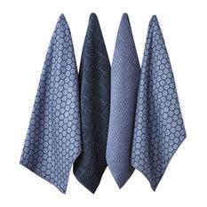 Ladelle 4-Piece Set Microfiber Honeycomb Dusky Blue Tea Towels