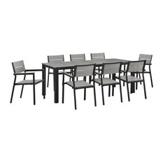 Modern Urban Contemporary 9-Piece Set Outdoor Patio Dining Set, Brown Gray Steel