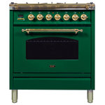 ILVE - 30'' Nostalgie Dual Fuel Range in Emerald Green with Brass Trim, LP - The Nostalgie immediately states its vocation as a range designed and made for the most demanding skilled user. Its classic look is enhanced by its frame offering burners rated up to 155000 BTU/h. It is a fully fledged professional range for domestic market.