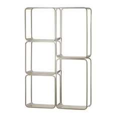 Urban Trends Metal Rectangle Wall Shelf With 5 Slots, Coated Finish, Silver