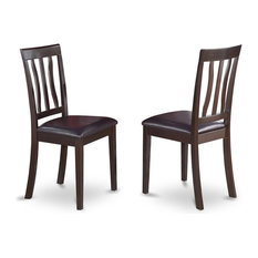 Antique Dining Chair Faux Leather Seat With Cappuccino Finish, Set of 2