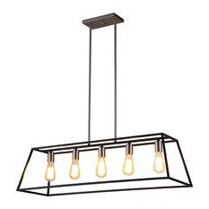 Agnes 5-Light LED Island Fixture, Matte Black and Brushed Nickel