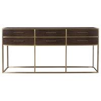 Gibson Modern Brushed Gold Mahogany 6-Drawers Console Table