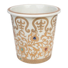 """Chinese White and Gold Tapestry Porcelain Planter, 10"""""""