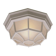 Essentials Ceiling L- 1 Light Flush Mount, White With Frosted Glass