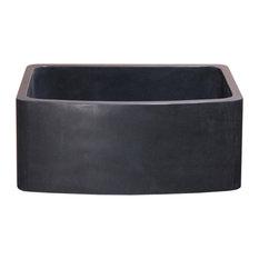 "24"" Farmhouse Kitchen Sink, Curved Front, Reversible, Black Lava"