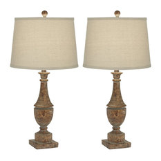 Pacific Coast Lighting Faux Wood Turning Set Of 2 Table Lamp 35G43