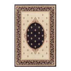 "F. Lys Medallion Black 6'7"" X 9'3"" Rectangle Woven RugJewel Collection"