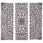 Brimfield & May - Botanical 3-Piece Carved Plaque Set, Antique Gray, Hand-Carved Wood Panels - Bring to your home the timeless appeal of the classics with this beautiful wall decor on your walls. Crafted in a contemporary style that fits great in most homes