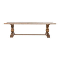 French Country Bleached Oak Wood Trestle Dining Table 110 Inches