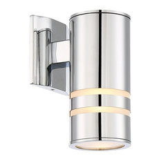 "Kira Home Rockwell 8.5"" Cylinder Outdoor Light/Wall Sconce, Chrome"