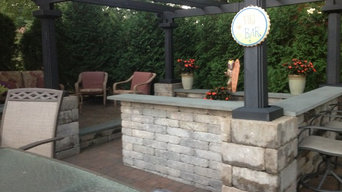 Outdoor bar with pergola and patio