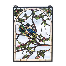 """14""""Wx20""""H Lovebirds Stained Glass Window"""