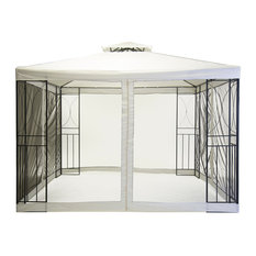 Charles Bentley 3x3 m Steel Art Cream Gazebo Party Tent With Fly Screen