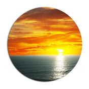 """Fantastic Sunset Over Sea Waters, Seashore Disc Metal Artwork, 11"""""""