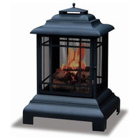 Pemberly Row Black 2 Sided Outdoor Fireplace