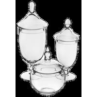 "Glass Apothecary Jar Candy Buffet Set 13.5""X5.5"" 16.5""X6.5"" 10""X6"" Combo Set"