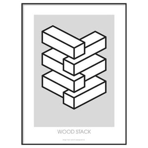 Wood Stack Art Print, A4