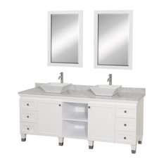 Eco-Friendly Bathroom Vanity with White Carrera Marble Top