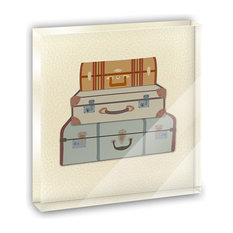 Vintage Luggage Suitcase Travel Mini Desk Plaque and Paperweight