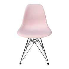 DSR Eiffel Dining Chair, Light Pink, Chrome Wire Metal Eiffel Legs, Set of 6
