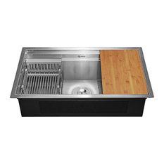 """AKDY 32""""x18""""x9"""" Undermount Handmade Stainless Steel Kitchen Sink"""