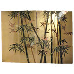 """Modern Chinese Wall Hanging Hand-Painted Bamboo on Gold Leaf, 48""""x36"""" - Contemporary Chinese Wall Hanging is hand painted in an Asian bamboo and wild bird design on rich gold leaf background. Set of four lacquer panels with brass hangers are available in two sizes. Real gold leaf (not gold paint) is hand applied to these wooden panels and hand painted in olive and forest green lacquers. A clear lacquer top coat is used to protect and seal the gold leaf. These wall plaques are light and easy to hang. Use above a cabinet, even as a headboard. They can even be spaced to allow the background wall to show. The gold leaf and its reflective quality make a dazzling show piece to enhance any room.  Purchase now, supplies on quality hand made imports are limited."""