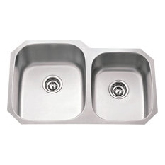 16 Gauge 60/40 Stainless Steel Undermount Sink, larger left bowl