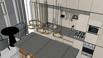 3D Sketchup tegning - Køkken design
