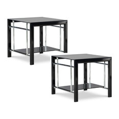 Powell Contemporary End Tables Glass And Metal Set In Black