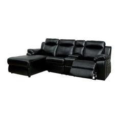 Furniture of America Baski Left Facing Reclining Sectional in Black