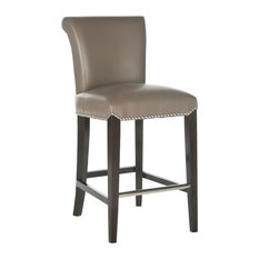 Safavieh Seth Counter Stool, Clay/Espresso Leather/With Nail Head