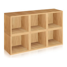 Modular Stackable 6 Storage Cube System, Tool Free Assembly Eco zBoard, Natural