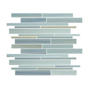 "Reflections Hand-Painted Linear Glass Mosaic Tile, 12""x12"""