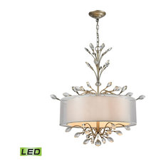 Luxe / Glam 4 Light Chandelier in Aged Silver Finish