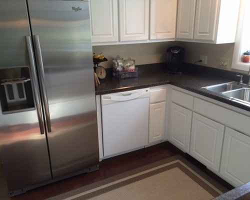 AWARD WINNER ~ White Kitchen Refaced Cabinets with Gray Granite Countertops