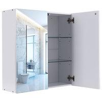 Wide Wall Mount Mirrored Medicine Storage Cabinet