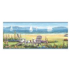 Barnstable Blue Seaside Cottage Border Wallpaper, Swatch