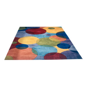 Contemporary Multi Colored Wool Rug, 2'x3', New Wave NW-37