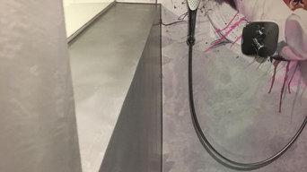 Fugenlose Dusche mit Design Tapete